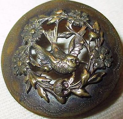 VICTORIAN METAL PICTURE BUTTON - CHASED BRASS WITH OPENWORK BIRD & FLOWERS.