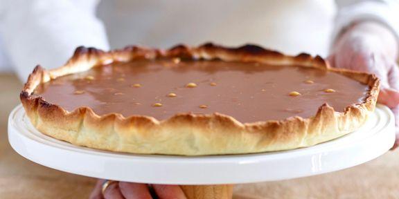 Chocoladetaart met zoute ganache en karamel