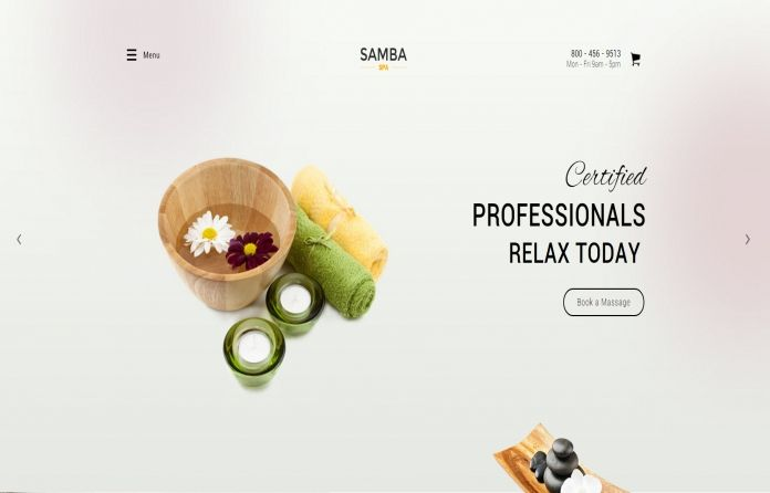 Samba Spa - #WordPress #theme with clean & #modern #layout. Great for #Spa #site or #beauty Salon #business