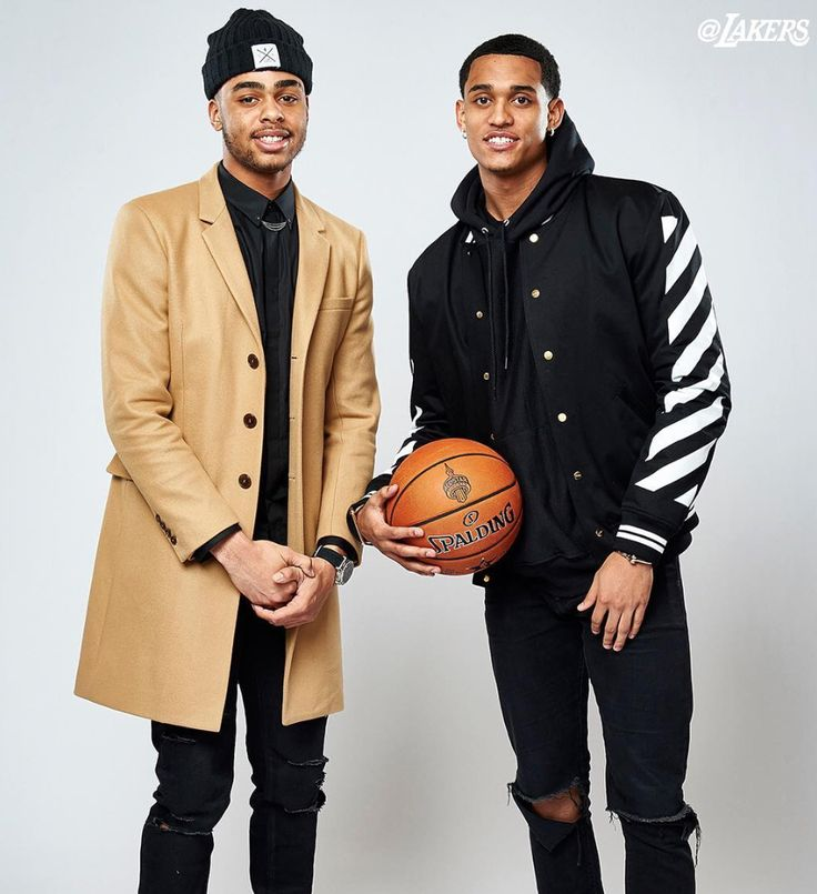 Jordan Clarkson Does Lakers Photo Shoot With D'Angelo Russell Wearing Off-White Varsity Jacket | UpscaleHype
