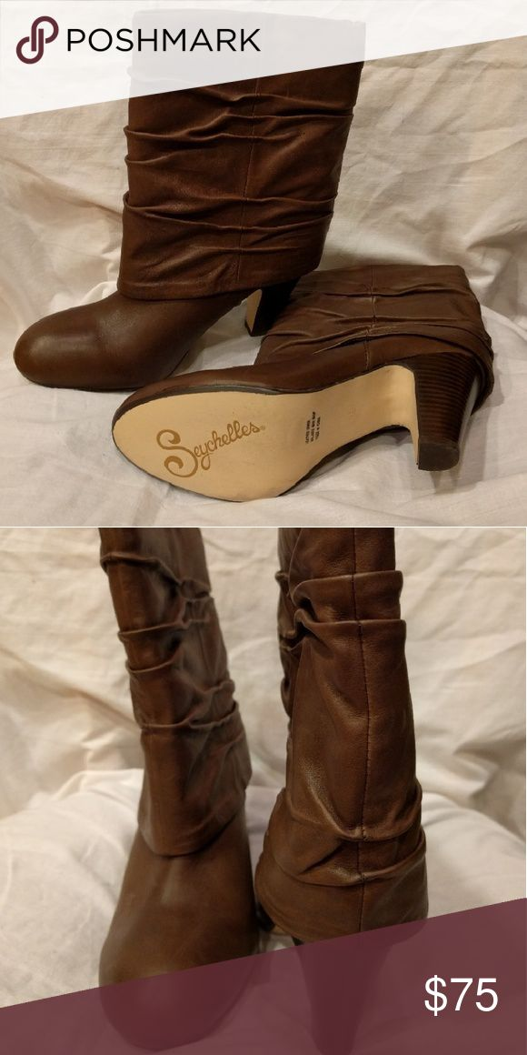 Seychelles Brown mid calf cuff boot Heeled Seychelles boots with a round toe and ruched leather upper Seychelles Shoes Heeled Boots