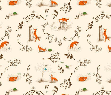 fox toile fabric by rose'n'thorn on Spoonflower - custom fabric
