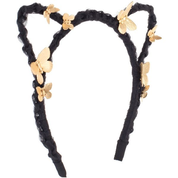Eugenia Kim Josie Braided Cat-Ear Headband w/ Butterflies ($115) ❤ liked on Polyvore featuring accessories, hair accessories, butterfly headband, butterfly hair accessories, black cat ears headband, black feather hair accessories and head wrap headband
