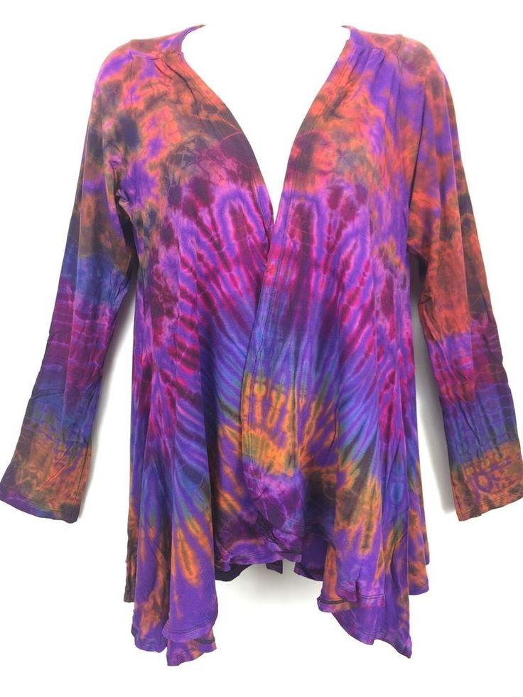S Kathmandu Imports Purple Tie Dye Jacket  Cardigan Rayon Boho Hippie Gypsy New #KathmanduImports #Boho