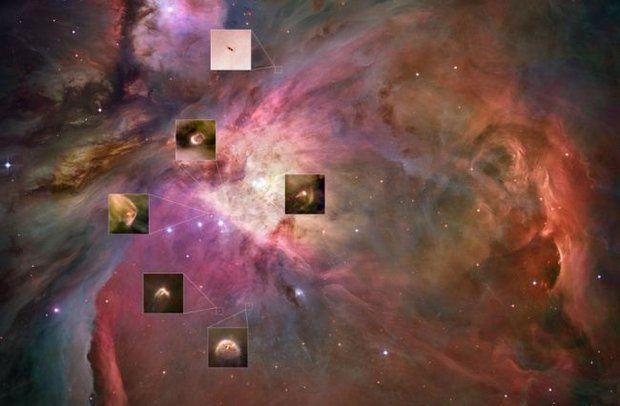 Как формируются планеты? Чтобы попытаться выяснить это, космический телескоп Хаббла получил задание пристально посмотреть на одну из самых интересных из всех туманностей на небе — Большую туманность Ориона. Туманность Ориона можно увидеть невооруженным глазом около пояса созвездия Ориона. Врезки на этом фото показывают многочисленные проплиды, многие из них — это звездные ясли, в которых, вероятно, находятся формирующиеся планетные системы.