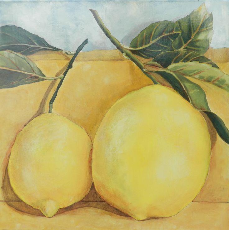 Lemons, Acrylic on Canvas by M. Hebert