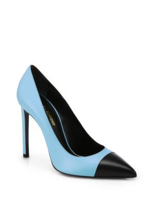 SAINT LAURENT Paris Leather Cap-Toe Pumps. #saintlaurent #shoes #pumps