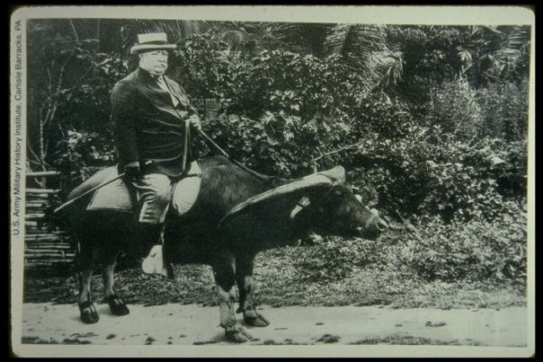 William Howard Taft Riding a Carabao during his term as Governor General of the Philippines, ca. 1900s In 1900, President William McKinley appointed Taft as the chairman of a commission to organize a civilian government in the Philippines, which had been ceded to the United States by Spain following the Spanish-American War and the 1898 Treaty of Paris.
