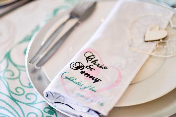 White personalised napkins