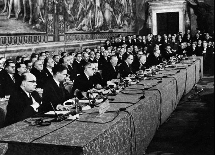 March 25,  1957: THE SIGNING OF THE TREATY OF ROME  -    A signing ceremony is held for the Treaty of Rome, which established the European Economic Community.