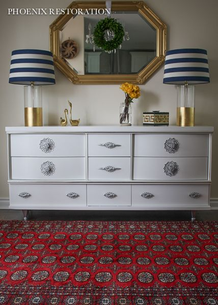 Hollywood Regency Style Sideboard / Dresser {by: Phoenix Restoration} #phoenixrestoration #hollywoodregency #generalfinishes #sherwinwilliams #eclectic #vintage #modern #furnituremakeover #diy