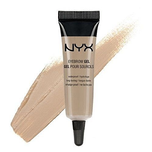"""NYX Waterproof Eyebrow Gel """" Blonde """". Highly pigmented brow gel. Fills and shapes brow providing a long-wear result. The smudge-free, waterproof formula seals brows in place. Using an angled brush, dip into gel and outline the perfect brow. Fill in sparse areas and blend with a clean spoolie brush."""