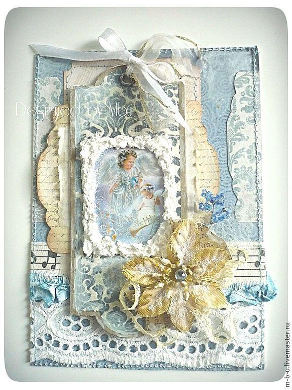 """Купить Открытка ручной работы """"Снежные Ангелы"""" - Открытка ручной работы, открытка, скрап открытка"""