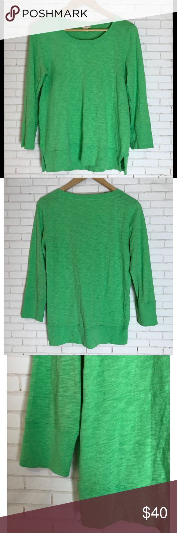 J. Crew Green Sweatshirt Women's Size Small J. Crew garment dyed cotton sweatshirt in color green with a slight heathered texture. Slouchy Fit, 3/4 sleeves. Rib trim at neck, sleeves and hem. Size small. J. Crew Tops Sweatshirts & Hoodies