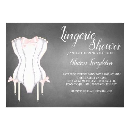Lingerie shower bridal shower corset invitation - invitations custom unique diy personalize occasions