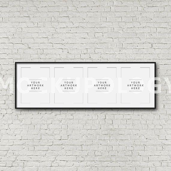 8x10 16x20 24x30 quadruple vertical digital black frame mockup styled photography poster mockup white brick background instant download