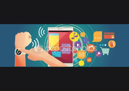Man wearing smartwatch using tablet pc. Browsing, chatting and share to social media — Stock Vector © kupritz #110718238