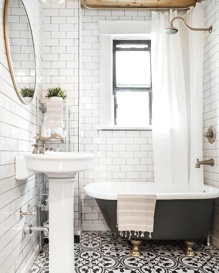 Freshen Up Your Bathroom in 2017 With This Mixed Tile Trend. Small Classic BathroomClawfoot  Tub ...