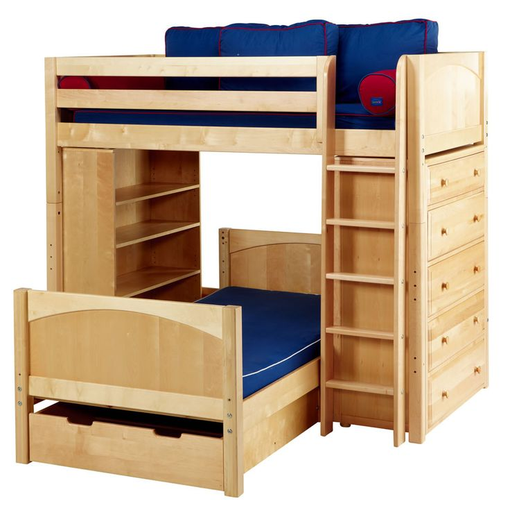 17 best images about bunk beds on pinterest bunk bed with trundle hidden storage and wooden - Loft bed with drawers underneath ...