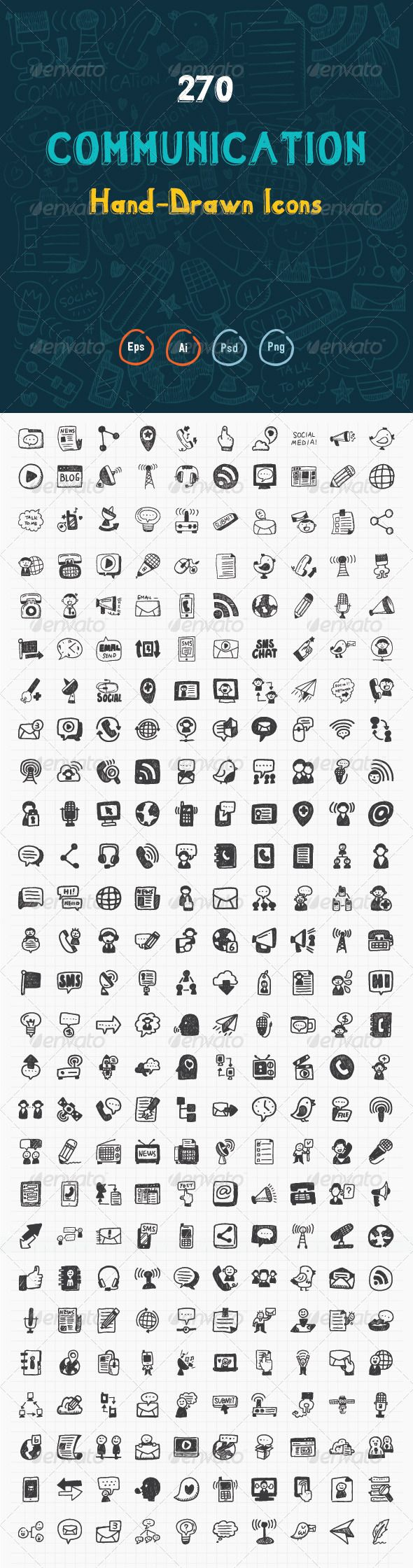 270 Hand Drawn Communication Icons  — PSD Template #communication icons #business communication…