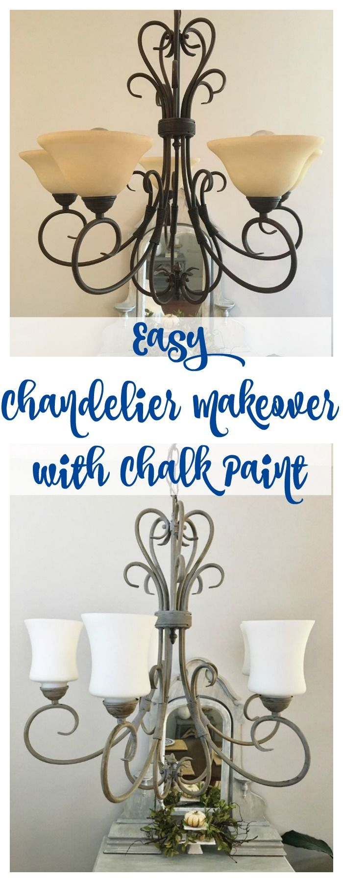Chandelier Makeover with Chalk Paint - 2 Bees in a Pod