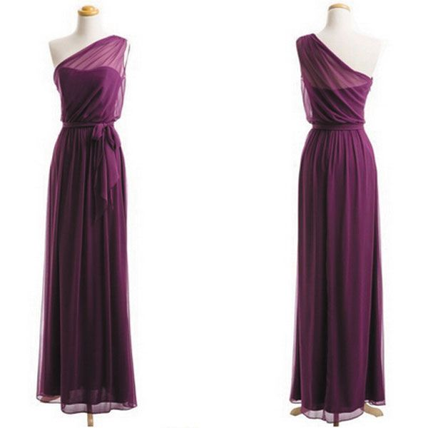 Plum Bridesmaid Dresses, One Shoulder Bridesmaid Dress