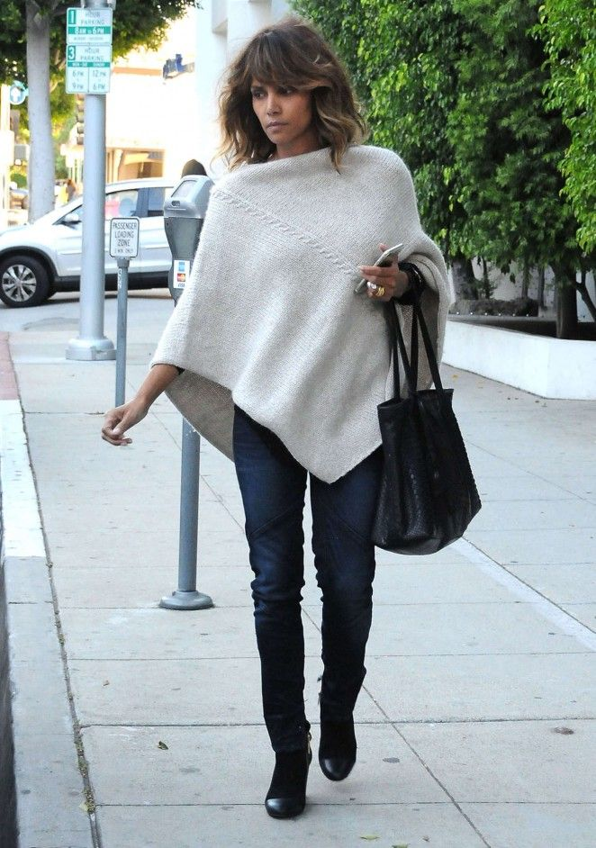Halle Berry in our Cable Knit Poncho