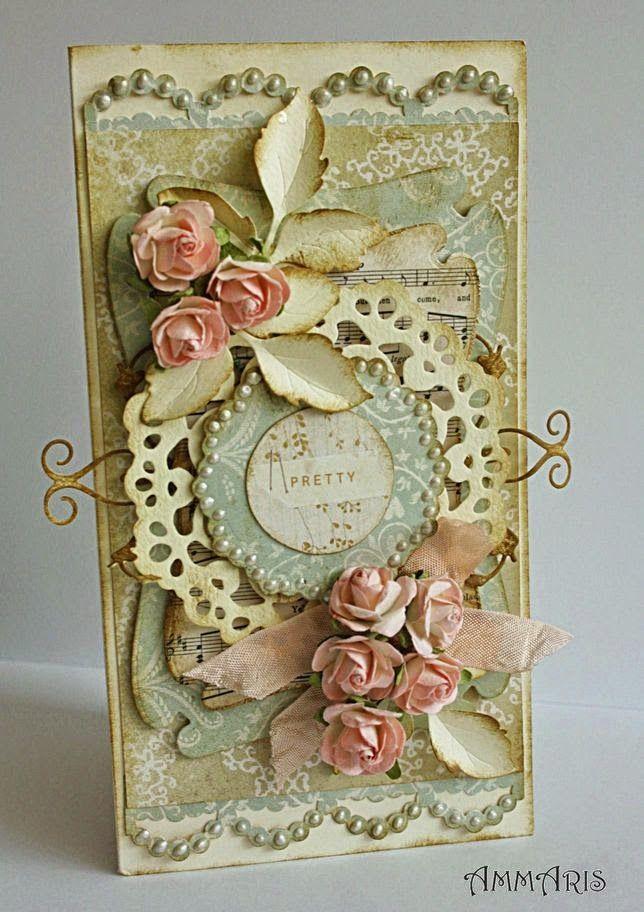 card ... handmade ... hand made ... homemade ... scrapbooking ... Shabby Chic ... wedding ... flower ... vintage