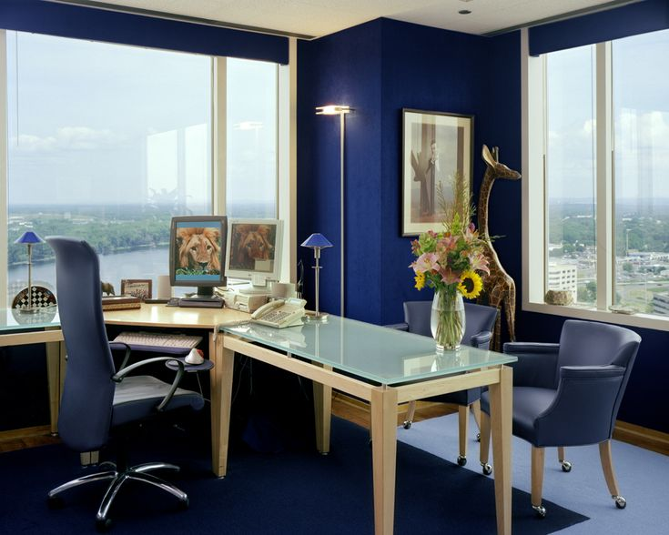 Interior design of offic ework space with blue color domination