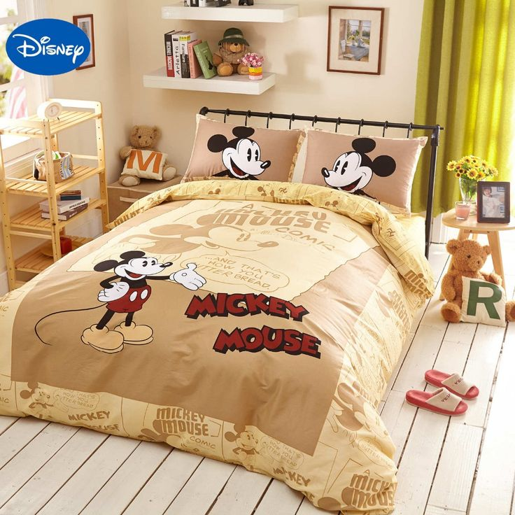 beige disney cartoon mickey mouse 3d printed bedding set for boys bedroom decor cotton bed sheets