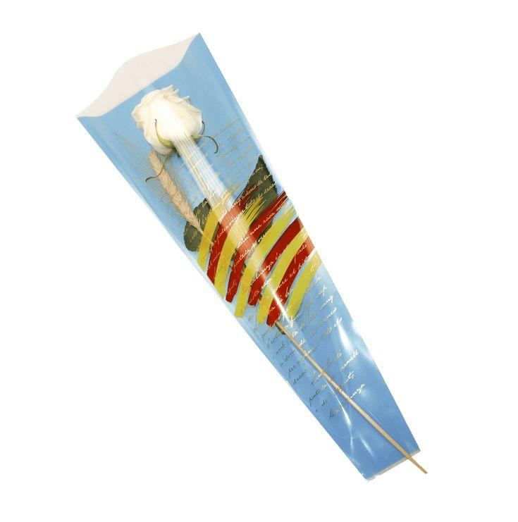 Bolsa Senyera Sant Jordi Verso Pincel fondo Varios Colores 6x18x48 1000 Unidades.  BOLSAS PARA SANT JORDI, bolsa cono para la rosa se Sant Jordi, bolsas con bandera catalana, bolsa con Senyera per la rosa, bolsas con bandera andorrana, cono para la diada, bolsas de celofan para flores, bolsa para Sant Jordi personalizadas. BOLSAS PARA LA ROSA DE SANT JORDI AL MEJOR PRECIO