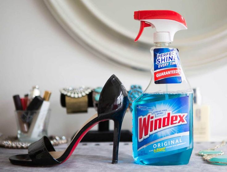Make patent leather shoes shiny again with a little bit of glass cleaner.