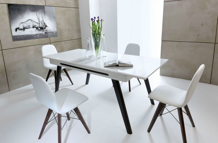 New Dining Table & 4 Chair WHITE HIGH GLOSS Modern