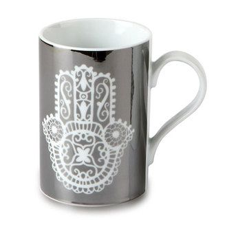 Mug en porcelaine main de Fatma Gris 29 cl - Lot de 2 YASMINA