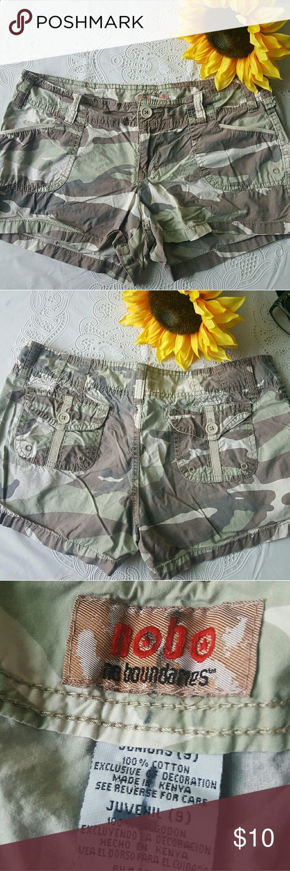"Camouflage shorts No Boundaries camouflage shorts. Super soft and  comfy, 10"" from waist to hem. Excellent condition. No Boundaries Shorts"
