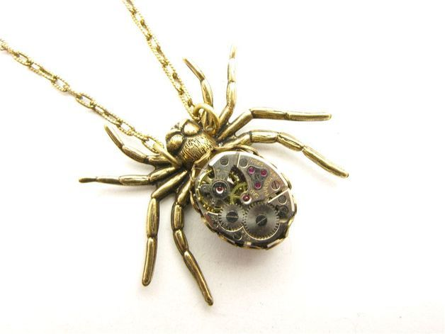 Pendants – Steampunk Brass Victorian Mechanical Spider Neckla – a unique product by TheGoldBug on DaWanda