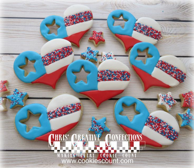 Patriotic Heart shaped cookies with star cut out by ChrisCreativeConfect on Etsy