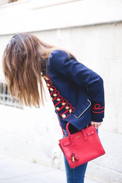 Jaqueta soldado/militar vintage/paquita. Azul, vermelho e dourado.