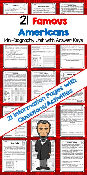 Biography Unit - 21 Famous Americans - Includes worksheets and answer keys