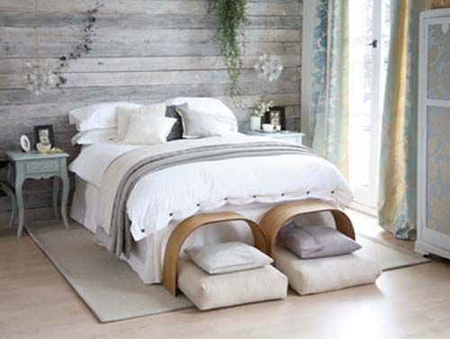white washed gray boards bedroom | There's plenty of space in this rustic loft. The white floors, walls ...