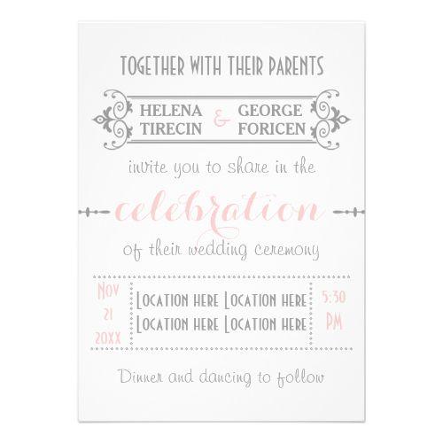Modern typography pink, grey wedding custom invite
