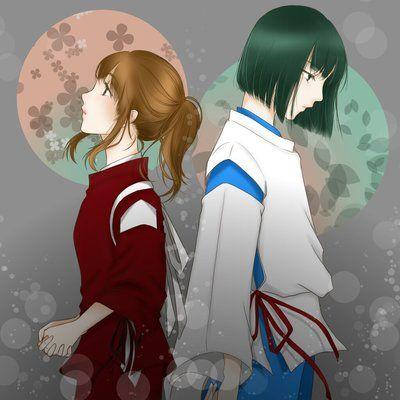 Fan art of Chihiro and Haku from Spirited Away (Studio Ghibli's movie).
