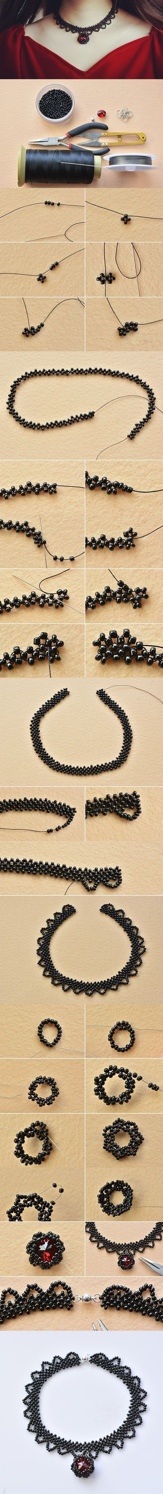 Get ready to show your handiwork. Here is a tutorial for a handmade vintage choker necklace with black seed beads. After you string up and down the black seed beads as shown, complete the choker wi…