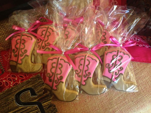 Cowboy boot cookies at a pink cowgirl party! See more party ideas at CatchMyParty.com!