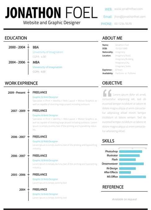 The left-hand side of this résumé is all business, while the right allows you to express your personality.