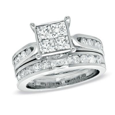 Fabulous T W Princess Cut Quad Diamond Bridal Set in K White Gold