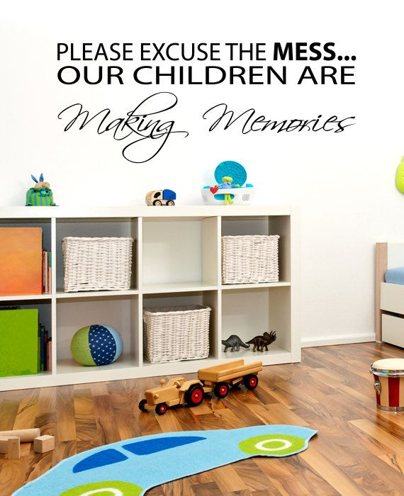 Please Excuse this Mess Childrens Kids Room Wall by HappyWallz