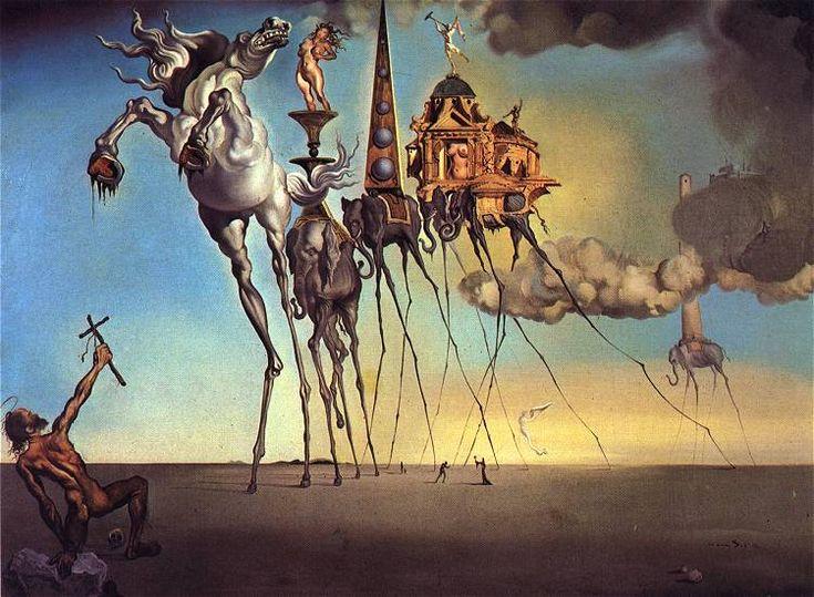 La tentación de San Antonio Salvador Dalí, 1946 Óleo sobre lienzo 90 cm × 119,5 cm Museos reales de Bellas Artes de Bélgica