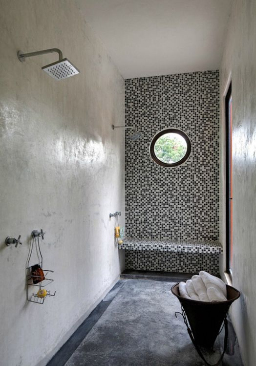 Love everything: double shower, wet room, tile wall, bench, circle window