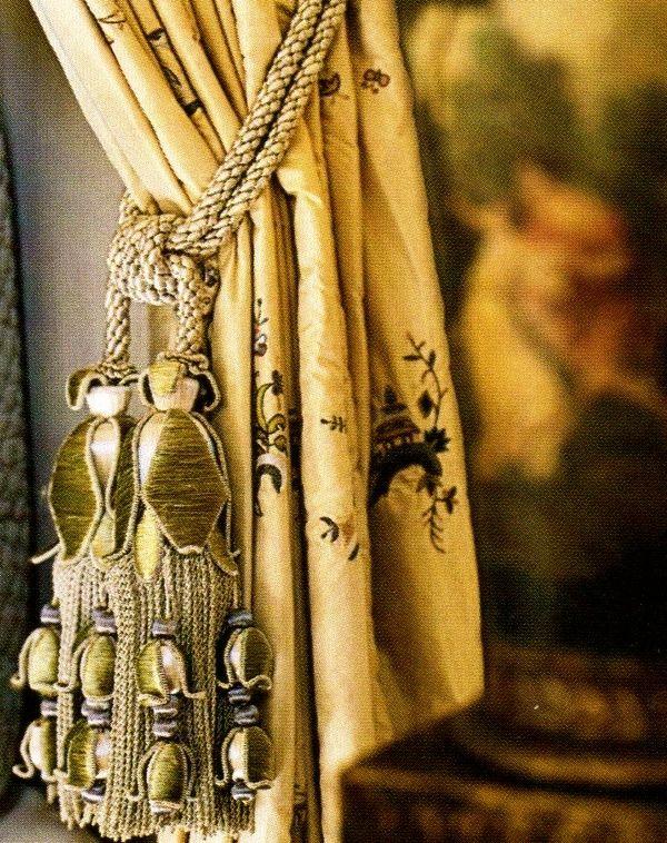 Lovely embroidered drapery panel with velvet tassels